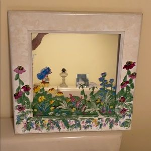 Hand painted mirror and frame